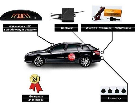 Czujniki cofania, 4 sensory, wyświetlacz LED, Bezprzewodowy