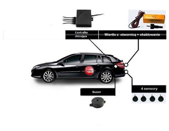 Czujniki cofania 4 sensory z buzzerem