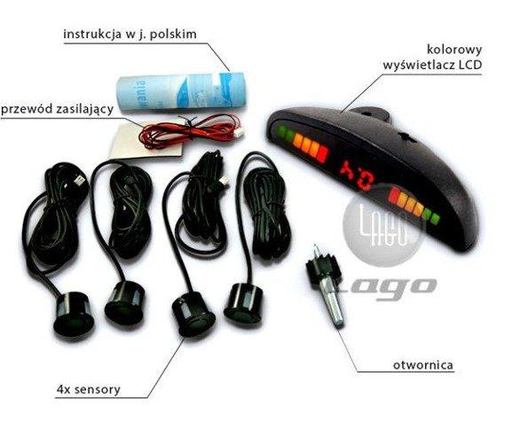 Czujniki cofania parkowania 8 sensorów, wyświetlacz LED z BUZZEREM, wyświetlacz podsufitkowy, odwrócony