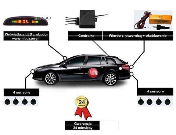 Czujniki parkowania z 8 sensorami i wyświetlaczem LED + buzzer