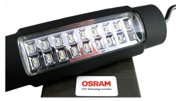 Latarka warsztatowa, lampa inspekcyjna z POWER BANKIEM,  M-TECH IL95 diody OSRAM